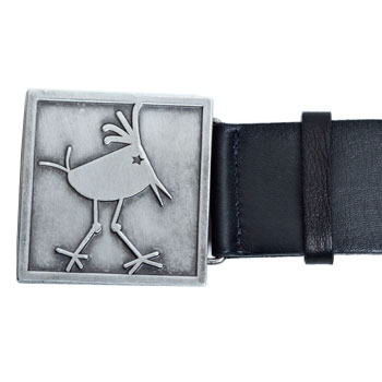 Byrdie Logo Black Leather Belt (buckle detail)