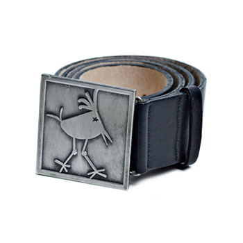 Byrdie Logo Black Leather Belt