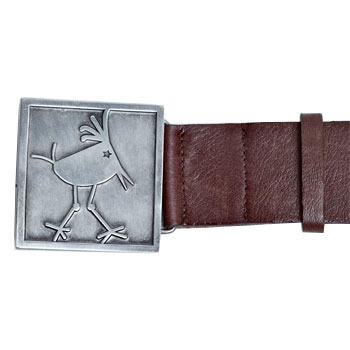Byrdie Logo Brown Leather Belt (buckle detail)