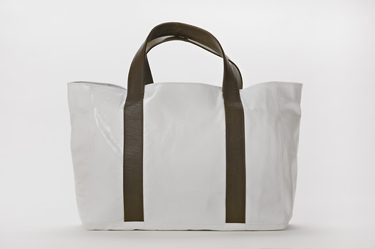 U hOO Classic Leather Tote - White/Olive Green