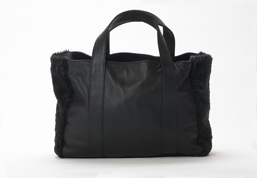 U hOO Classic Leather Tote - Black/Grey