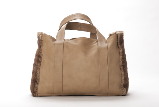 U hOO Classic Leather Tote - Caramel/Herringbone